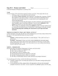 Analytical Response Essay Assessment Romeo And Juliet Critical Analytical Response