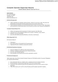 Resume Format Computer Operator Sample Resume format for Computer Operator Danayaus 1
