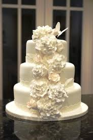Simple Wedding Cake With Cascading Flowers