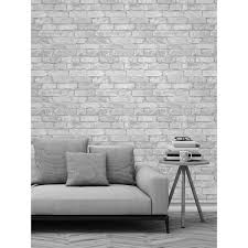 Small Picture White and Silver Rustic Brick Effect Wallpaper Windsor