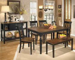 Black & Brown Table 4 Chairs & Bench Allen Wayside Furniture