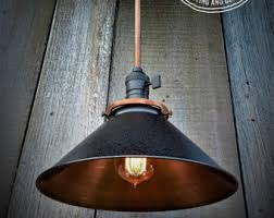 etsy industrial lighting. Industrial Engine House No.5 Single Copper And Black Shaded Pendant Light , Lighting Etsy C