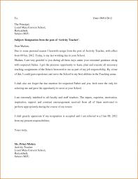 Example Of A Resignation Letter For Teachers Valid Letter