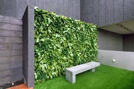 outdoor seating area feature wall