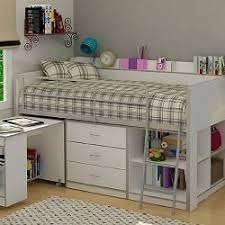 A loft bed with storage and desk is a great space saver for a small bedroom