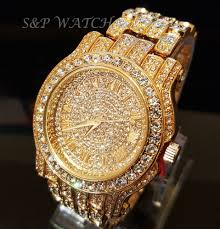 mens diamond watch men hip hop iced out gold tone techno pave bling simulated diamond rapper watch
