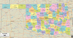 detailed political map of oklahoma ezilon maps for counties