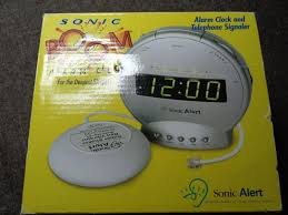 alarm clock sonic boom wake up alert loud bed vibrating dual dimmer lights new