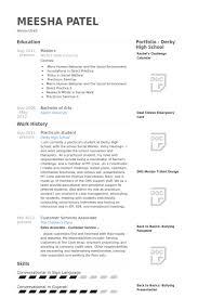 Practicum Student Resume samples