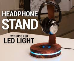 picture of usb headphone stand with rgb led lighting