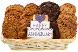 celebrate an important anniversary by sending a gift basket filled with gourmet cookies