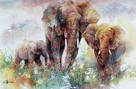 elephants watercolor olympus digital lian zhen