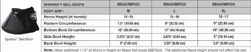 Bell Boot Size Chart Professionals Choice Spartan Bell Boot With Fleece