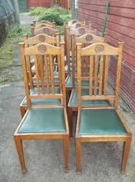 old oak dining chairs. set of 10 oak dining chairs. antique photo old chairs e