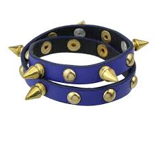 black pu leather spike bracelet
