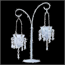 uniquely beautiful tabletop stand boasts two hanging votive chandeliers glittering crystals and curving