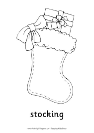 Small Picture Stocking Colouring Page