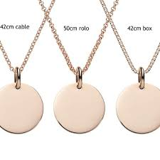 engraved rose gold disc pendant personalised jewellery the
