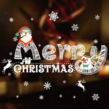 Merry Christmas Wall Stickers Glass Window Store Shopping Malls