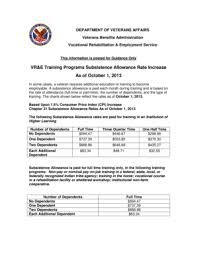 Fillable Online Benefits Va Subsistence Allowance Rates
