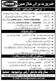 jobs in star pak marshal arts sialkot for driver cook guard executive driving jobs