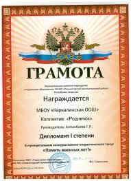 Конкурсы дипломы  Память военных лет Диплом 1 место jpg
