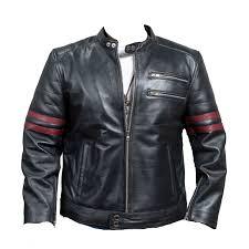 mens retro red strip motorcycle black leather jacket
