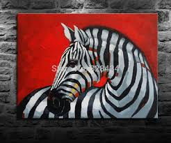 2018 on the canvas hand painted wall art red background zebra modern home decoration from carefreeping 57 57 dhgate com