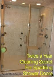 twice a year cleaning secret for sparkling shower doors glass shower door cleaner recipe
