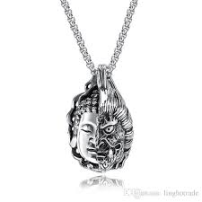 whole new arrival men necklace good and evil buddha statue ghost stainless steel pendant necklace for men box chain fashion jewelry unique jewelry best