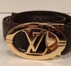 Designer Louis Vuitton Belts Louis Vuitton Brown Monogram Lv Circle Belt Luxury Belts