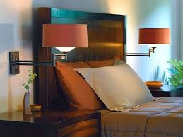 Bedroom With Swing Arm Wall Sconces Features Orange Shades And Gorgeous Bedroom Swing Arm Wall Sconces