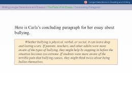 these slides are optimized for powerpoint versions  here is carla s concluding paragraph for her essay about bullying