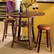 Cherry Wood Kitchen Table Sets 3 Pc Home Bar Table Set Cherry Wood Finish Round Shape Table Top 2