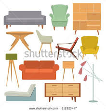 living room furniture clipart. vector illustration of living room furniture in mid century modern style. beautiful design elements, clipart e