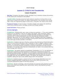 Engineering Design Brief Lesson 3 Criteria And Constraints