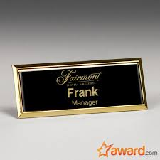 Engraved Metal Name Badge With Gold Frame 3 X 1 Inch