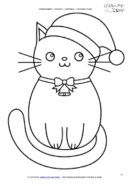 Free Christmas Cat Coloring Page Cat 14