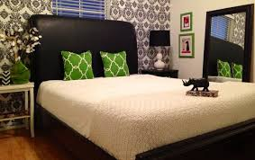 Modern Black And White And Green Bedroom Black White And Green Damask Guest  Room Contemporary Bedroom