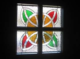 celtic design stained glass door panels