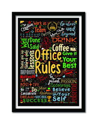 inspirational frames for office. 4 Office Rules Inspirational Words Typography Framed Poster Frames For L