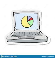 A Creative Sticker Of A Cartoon Laptop Computer With Pie