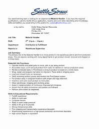 Mail Handler Resume Merchandise Handler Cover Letter Best Of Material Handler Resume