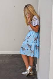 Light Blue Striped Skirt How To Wear A Light Blue Print Midi Skirt 1 Looks Outfits