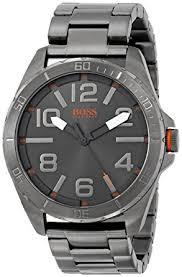 hugo boss orange 1512999 48mm ion plated stainless steel case grey hugo boss orange 1512999 48mm ion plated stainless steel case grey steel bracelet mineral men s watch