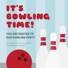 bowling invitation templates blue stripes bowling party invitation templates by canva