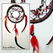 Asian Dream Catcher Large Brown and Red Dreamcatcher Dream Catcher Boho decor Magic 5