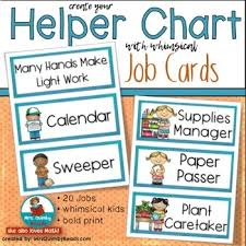 Classroom Jobs Printable Helper Chart Responsibility