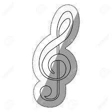 Monochrome Contour Silhouette With Sign Music Treble Clef Vector