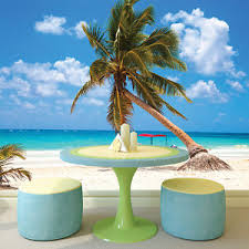 Small Picture Palm Tree Wall Mural Tropical Beach Photo Wallpaper Blue Ocean